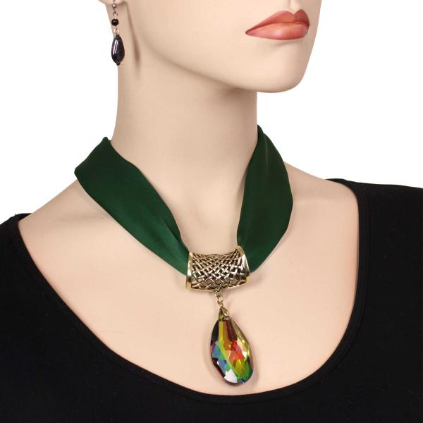 wholesale Satin Magnet Necklace with Optional Pendant #038 Hunter Green (Bronze Magnet) w/ Pendant #572 -