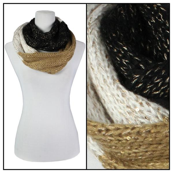 wholesale Infinity Scarves - Knit Sequined 4308* Black-Gold-Beige Infinity Scarves - Knit Sequined 4308* -