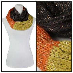 wholesale Infinity Scarves - Knit Sequined 4308* Brown-Orange-Mustard Infinity Scarves - Knit Sequined 4308* -
