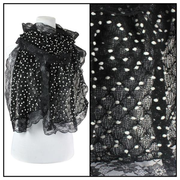 wholesale Oblong Scarves - Lace Pom Pom 4320* Black -