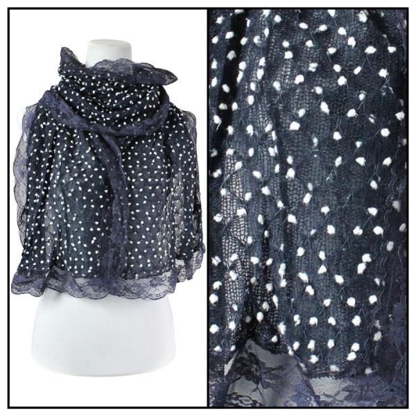 wholesale Oblong Scarves - Lace Pom Pom 4320* Blue -