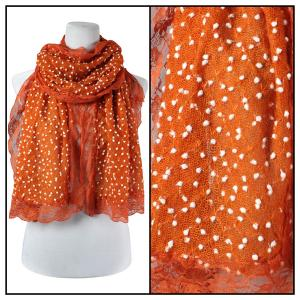 wholesale Oblong Scarves - Lace Pom Pom 4320* Orange -