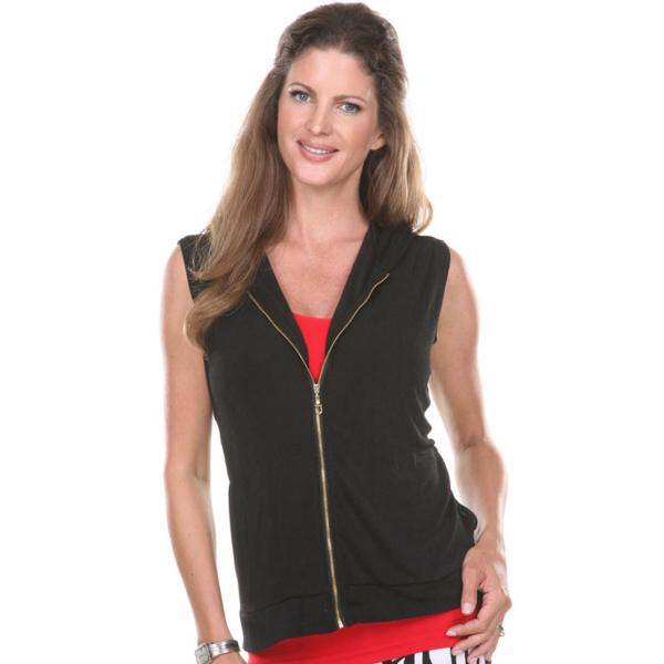 Slinky Travel Zipper Vest with Hood* Black  - One Size (S-L)