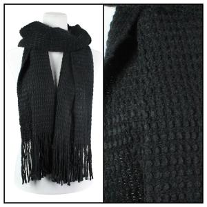 Wholesale  Black Oblong Scarves - Long Plush Knit 4328* -