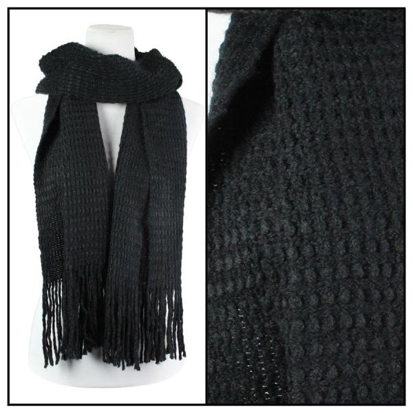 Wholesale C Oblong Scarves - Long Plush Knit 4328* Black Oblong Scarves - Long Plush Knit 4328* -