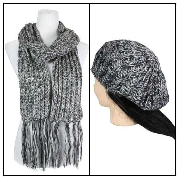 Scarf & Hat Set - Knit Sequined 5007 Black Set -