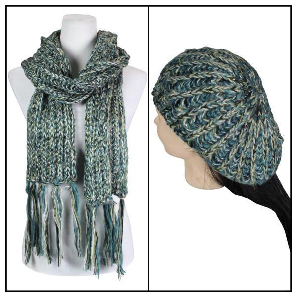 Scarf & Hat Set - Knit Sequined 5007 Green Set -