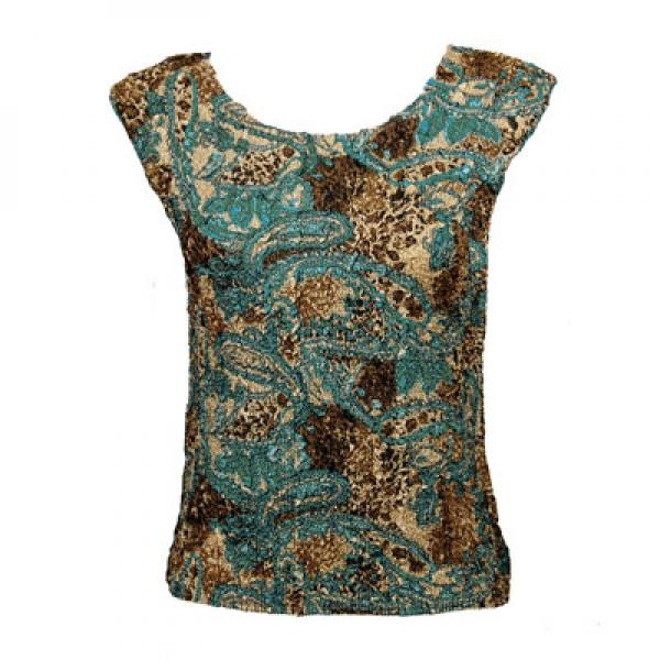 wholesale Magic Crush Cap Sleeve Tops Paisley Teal - One Size (S-L)
