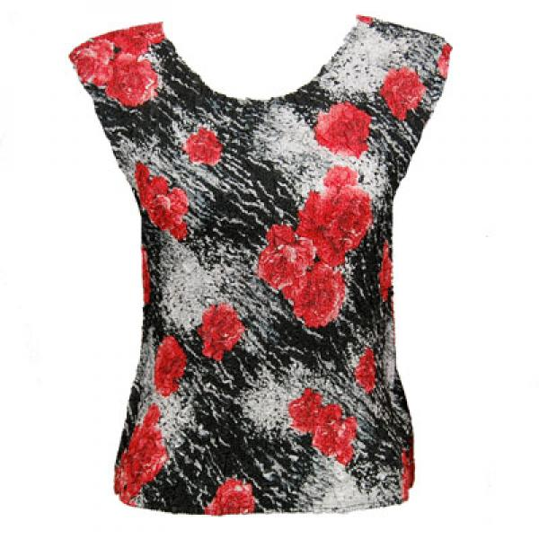 wholesale Magic Crush Cap Sleeve Tops Spray of Roses - Plus Size Fits (M-1X)