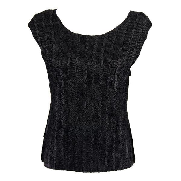 wholesale Magic Crush Cap Sleeve Tops Solid Black-B - Plus Size Fits (XL-2X)