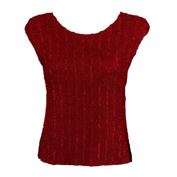 wholesale Magic Crush Cap Sleeve Tops Solid Burgundy-B - Plus Size Fits (XL-2X)