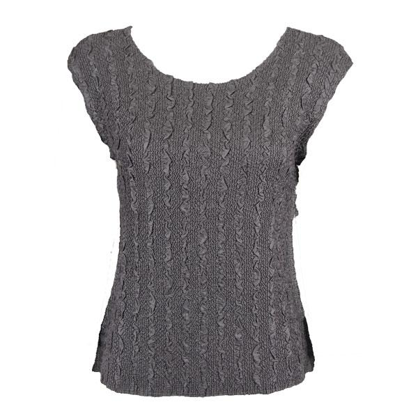 wholesale Magic Crush Cap Sleeve Tops Solid Charcoal-B - Plus Size Fits (XL-2X)