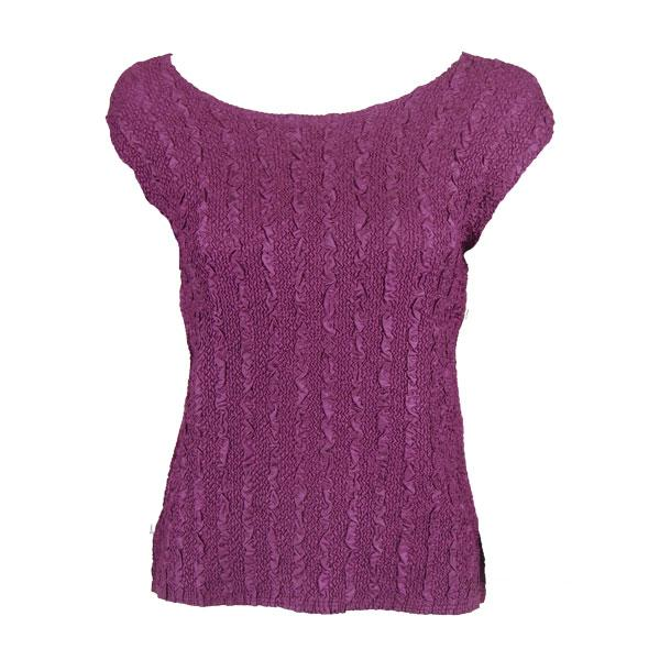 wholesale Magic Crush Cap Sleeve Tops Solid Eggplant-B - One Size (S-L)