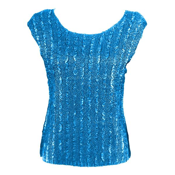 wholesale Magic Crush Cap Sleeve Tops Solid Blue-B - Plus Size Fits (XL-2X)