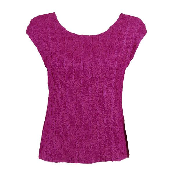 wholesale Magic Crush Cap Sleeve Tops Solid Magenta-B - One Size (S-L)