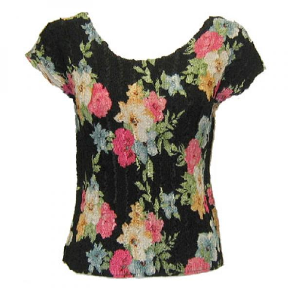wholesale Magic Crush Cap Sleeve Tops Black Floral - One Size (S-L)