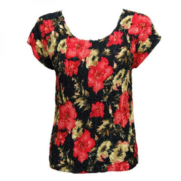 wholesale Magic Crush Cap Sleeve Tops Coral Blossoms on Black - One Size (S-L)