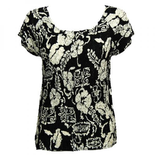 wholesale Magic Crush Cap Sleeve Tops Ivory Floral on Black - One Size (S-L)