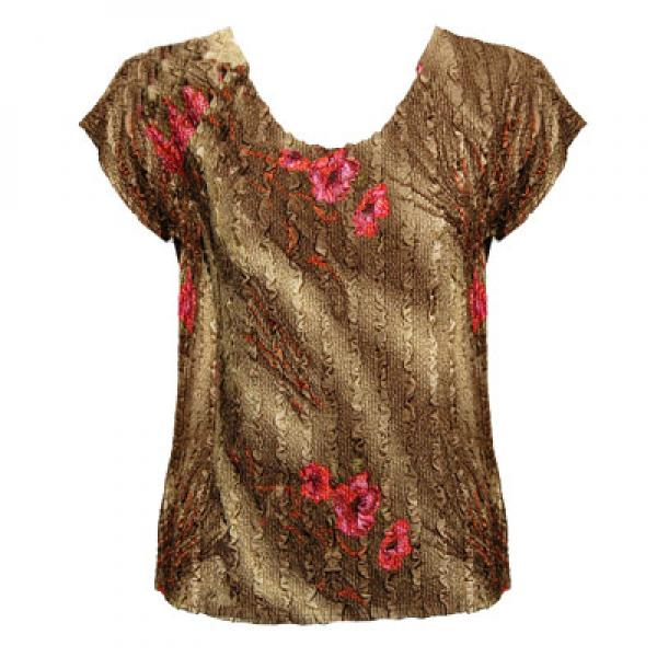 wholesale Magic Crush Cap Sleeve Tops Marble Floral-Taupe - One Size (S-L)
