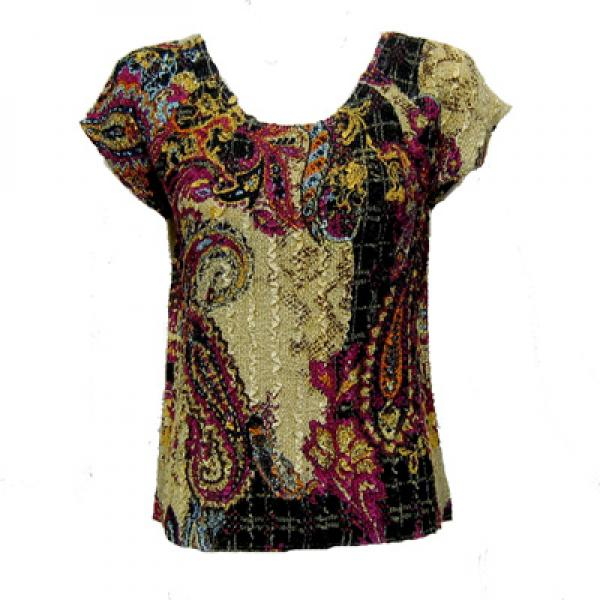 wholesale Magic Crush Cap Sleeve Tops Paisley Plaid Magenta - One Size (S-L)