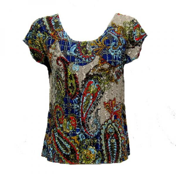 wholesale Magic Crush Cap Sleeve Tops Paisley Plaid Royal - One Size (S-L)