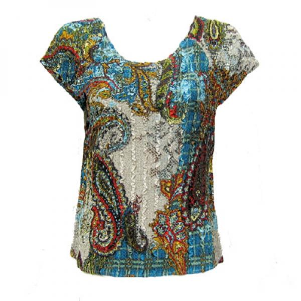 wholesale Magic Crush Cap Sleeve Tops Paisley Plaid Teal - One Size (S-L)
