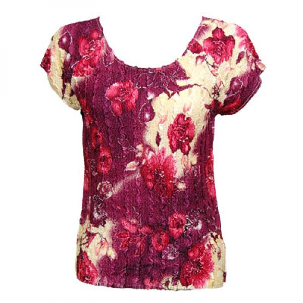 wholesale Magic Crush Cap Sleeve Tops Rose Floral - Berry - One Size (S-L)