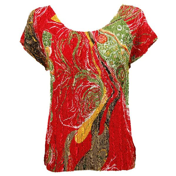 wholesale Magic Crush Cap Sleeve Tops Swirl Olive-Red - One Size (S-L)