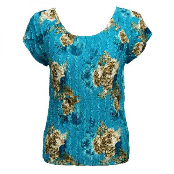 wholesale Magic Crush Cap Sleeve Tops Taupe on Teal - One Size (S-L)