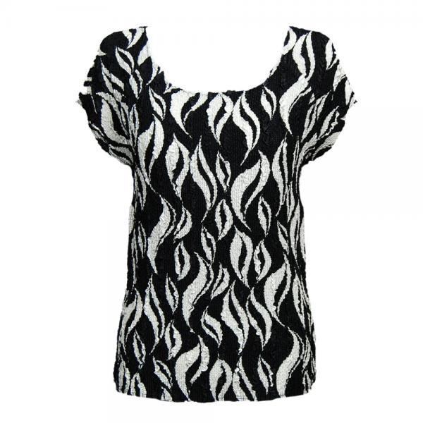 wholesale Magic Crush Cap Sleeve Tops White Buds on Black - One Size (S-L)