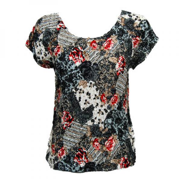 wholesale Magic Crush Cap Sleeve Tops White-Black-Red Abstract - One Size (S-L)