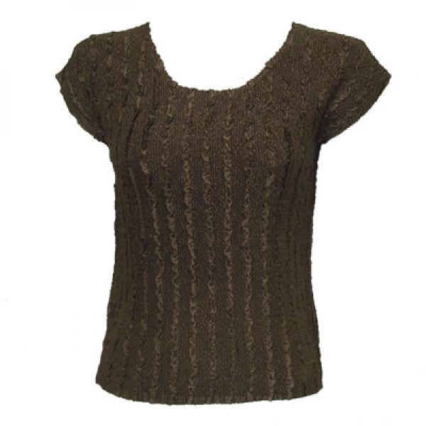 wholesale Magic Crush Cap Sleeve Tops Solid Brown-A - One Size (S-L)