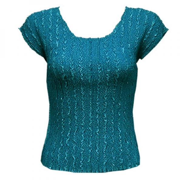 wholesale Magic Crush Cap Sleeve Tops Solid Dark Teal-A - One Size (S-L)