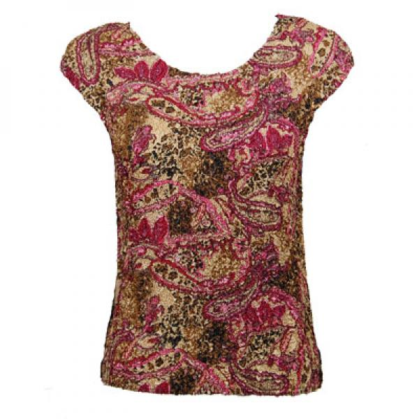 wholesale Magic Crush Cap Sleeve Tops Paisley Raspberry - One Size (S-L)