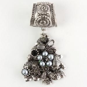 wholesale Scarf Pendants  #C001 Silver Christmas Tree w/ Grey Pearls (Hinged Tube) -