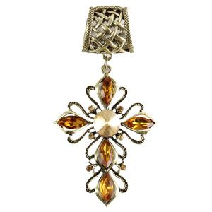 wholesale Scarf Pendants  #020 Cross w/ Copper Stones (Hinged Tube) -