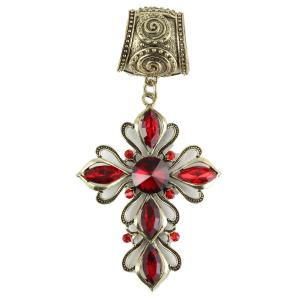wholesale Scarf Pendants  #022 Bronze Cross w/ Red Crystals (Hinged Tube) -