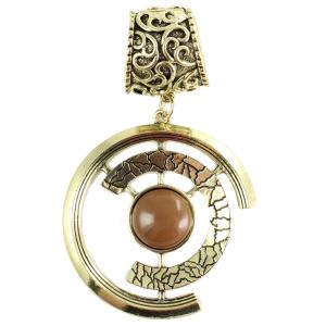 wholesale Scarf Pendants  #046 Double Half Circle w/ Brown Stone (Hinged Tube) -