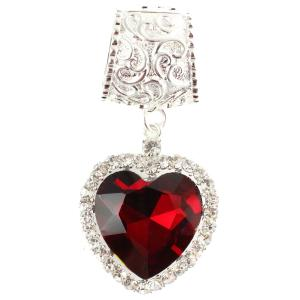 wholesale Scarf Pendants  #053 Red Heart w/ Silver Stones (Hinged Tube)(MB) -