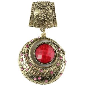 wholesale Scarf Pendants  #S073 Circle w/ Red Stone (MB) -