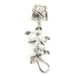 wholesale Scarf Pendants  #081 Silver Gecko (Hinged Tube) -