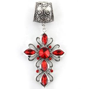 wholesale Scarf Pendants  #109 Silver Cross w/ Red Stones (Hinged Tube) -