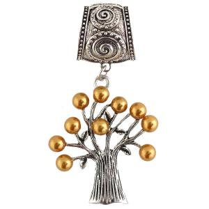 wholesale Scarf Pendants  #148 Tree of Life w/ Amber Pearls (Hinged Tube) -