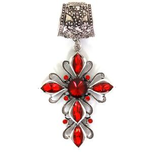 wholesale Scarf Pendants  #155 Bronze Cross w/ Red Crystals (Hinged Tube) (MB) -