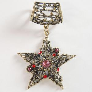 wholesale Scarf Pendants  #C006 Bronze Star w/ Red Stones (Hinged Tube) -