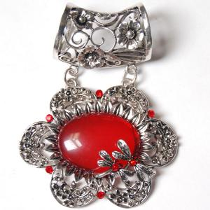 wholesale Scarf Pendants  #S490 Silver Flower w/ Red Stones -