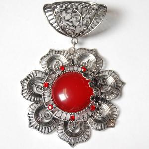 Wholesale  #S494 Silver Flower w/ Red Stones -
