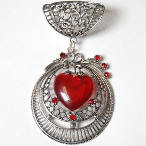 wholesale Scarf Pendants  #S498 Silver Circle w/ Red Heart Stone (MB) -