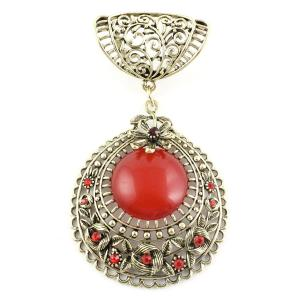 wholesale Scarf Pendants  #S579 Bronze Circle w/ Red Stone -