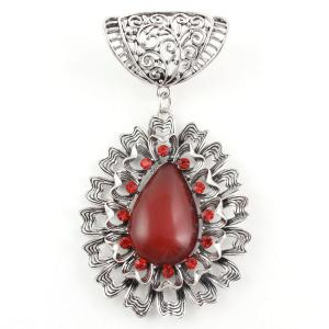 wholesale Scarf Pendants  #S582 Silver Abstract Oval w/ Red Stones -